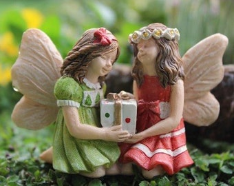 Miniature Fairy Garden Jackie and Jenny Sisters Friends Gift Christmas Decoration