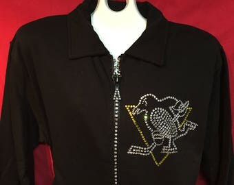 Pittsburgh Penguins Crystal Zipper Jacket NHL Hockey Normal Pens Logo Misses S M L XL and Plus sizes 1X 2X 3X