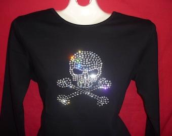 Skull Halloween Rhinestone crystal womens shirt SHORT LONG Sleeve Misses S, M, L, XL, Plus size 1X, 2X, 3X Shirts