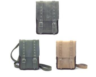 """Shoulder bag genuine leather case for 7"""" tablet, Leather bag, Crossbody bag"""