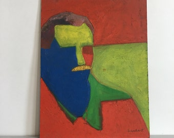 """Vintage Double Sided Abstract Portrait Still Life Red Green Blue Painting 12.5"""" x 16.5"""""""