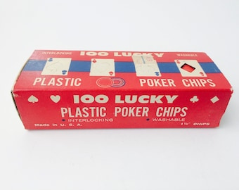 Vintage Made In U.S.A. 100 Lucky Plastic Poker Chips/Interlocking Poker Chips/Casino Night/Vintage Gambling