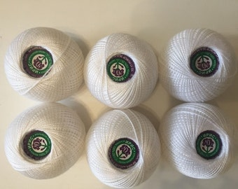 "100%Mercerized Cotton Yarn Thread ""Iris Crochet Embroidering 6 skeins150g Russia."