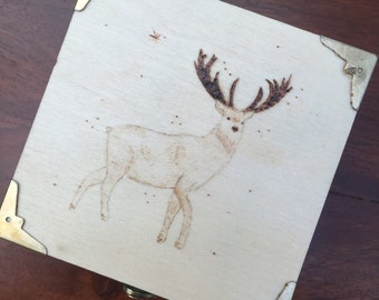 Reindeer Woodburned Box