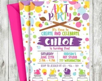 Art Party Invitation, Rainbow Art Party, Art Party Birthday Invitation, Painting Party Invitation, Party Printable, Custom Invitation
