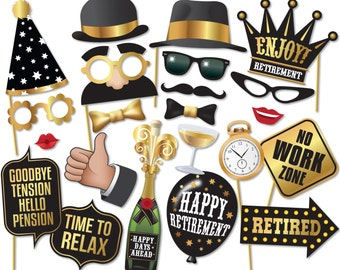 Retirement Photo Booth Props - Printable PDF - Retirement Party Photobooth Props - Party Decorations - Retirement Photo Props - 0200