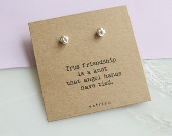Friendship Knot Personalised Silver Earring Studs