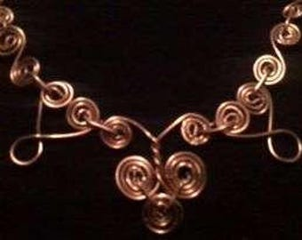 Spiral Dance 'Copper tone'  Wire Wrapped Necklace