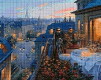Paris Balcony Cross Stitch pattern PDF - Instant Download!