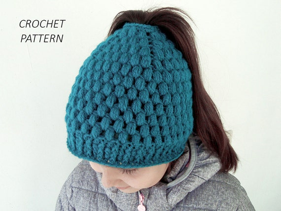 CROCHET PATTERN for Messy bun hat with bubbles Ponytail beanie a96f2bfc56b