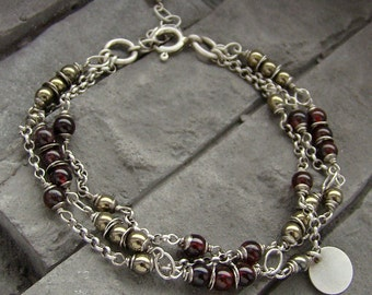 Sterling silver garnet and pyrite - multi bracelet oxidized silver
