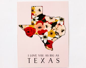 Texas Love Card - Bigger in Texas Notecards Set Floral Flowers Greeting Card Blank I Love You Thank You Bearly Southern Co