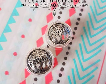 Pair of plugs 14mm silver trees