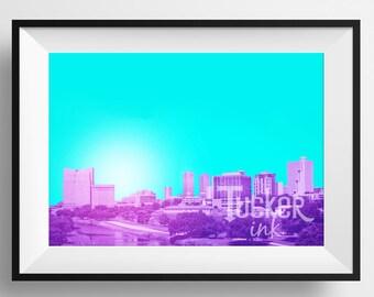 Fort Worth, Texas Skyline Art {decor print tcu photo photography wall art abstract conceptual city downtown}