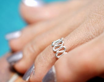 Toe Ring, Silver Toe Ring, Minimalist Silver Jewelry, Hippie Style, Body Jewelry, Delicate Toe Rings, Adjustable Toe Rings, (TS29)
