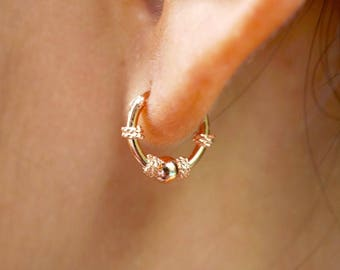 Rose Gold Plated Ear Hoops, Bali Hoops, Bridesmaids Gift, Fashion Ear Hoops,10mm Hoops, Minimal Earrings, Casual Ear Hoops (E54)
