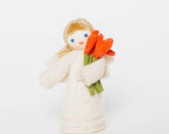 Flower Gifts Angel, Flower Ornament, hand-felted gift, hand-felted angel, hand-felted ornament, Christmas angel, Christmas ornament