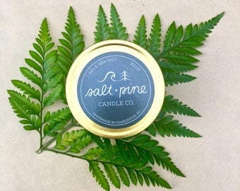 SALT + PINE | No. 4 Sea Salt | Scented Handmade Soy Candle in 4 oz. Tin