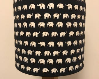 White Elephants on Dark Blue Lampshade
