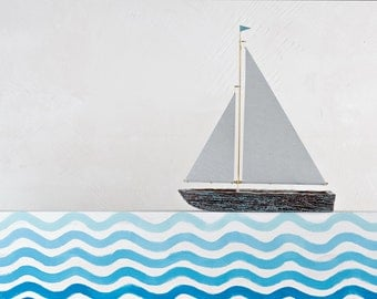 Double sail sailboat / Wooden toy boat / Bark boat / Interior decoration / Handmade boat / Gift for children / Collectible item