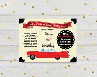 Classic car invitation, birthday invitation, party invitation, red, black, old cars, classic, women's birthday, men's birthday, 5x7, cruise