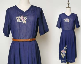 Navy Women Vintage Dress Purple Flower Embroider Pleated Short Sleeves V Neck 1980s Size M