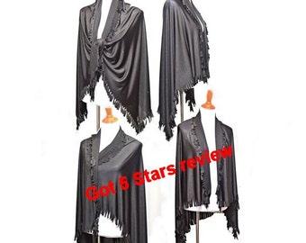 Women poncho, Black fringe wrap, fringe poncho, black scarves, boho wrap, women shawl, women scarf, fall wraps, women wrap, fringe wrap