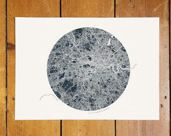 Circular London Coordinates Map - Silver Foil