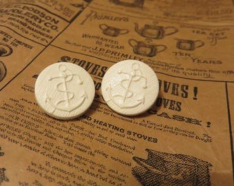 Vintage white Anchor button 18mm x 4