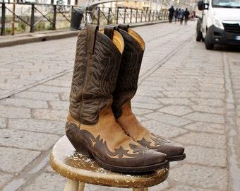 Original cowboy Western boots Brown 44 number camperos SATTLER