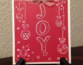 Christmas Card, Holiday Card, Handmade Card, Blank Cards, A2, Embossed Card, Joy, Ornaments