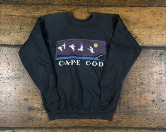 Vintage Cape Cod Sweatshirt Soft Thin Black