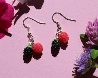 berry earrings, blackberry earrings, raspberry earrings