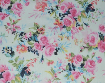 Pink Roses Fabric, Fabric by the yard, Fat Quarter, Quilting Fabric, Apparel Fabric, 100% Cotton Fabric
