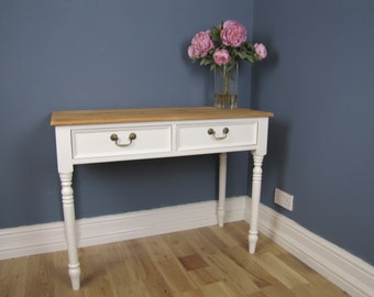 Edwardian Painted Pine Desk Sideboard Farrow and Ball Wimborne White