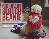 CROCHET BIG heart slouch Beanie PATTERN | Crochet Pattern | Fair Isle Hat | Heart Hat | Instant Download