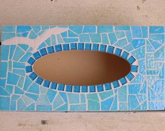box a blue mosaic handkerchiefs