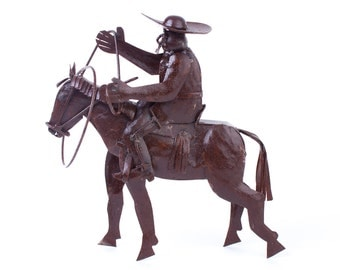 Charro, horse rider, cowboy, rancher, jinete, sheet metal figure oxidized finish. Yard art, garden decoration, home, restaurant.
