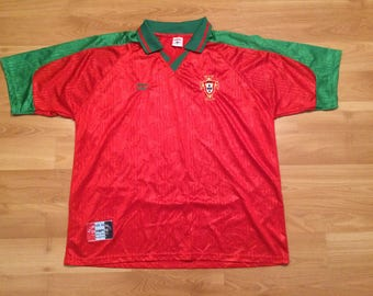 XL 90's Portugal National Team men's vintage soccer jersey Olympus red green futbol ball 1990's Europe World Cup