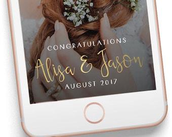 On Demand Custom Snapchat Geofilter, Gold Cursive Wedding, Snapogram Wedding Filter 018