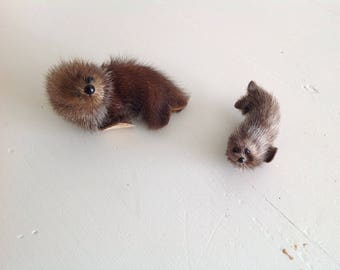 Vintage Fur Seals with beaded eyes very cute set of two