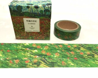 poppy field washi tape 7M Van Gogh green grass red flower scene Washi masking tape impressionist oil painting decor sticker tape gift