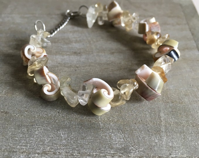 Handmade Citrine bracelet with real spiral shaped seashells