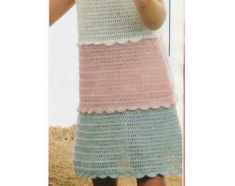 Vintage dress for todder crochet  pattern.  Published in a UK crochet magazine.