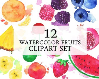 Watercolor Fruits Clipart Set | Printable Cliparts | Colorful Fruits Set