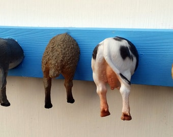 Farm Yard Animal Bum Coat Hook/Hanger - Blue (Free UK P&P)
