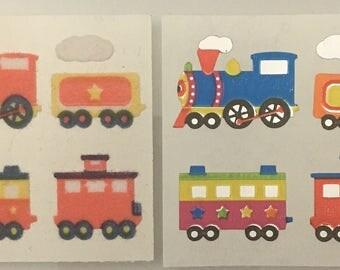 Vintage Fuzzy and Mylar Sandylion Train Stickers
