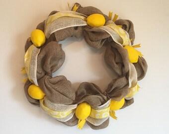Lemon Burlap Wreath