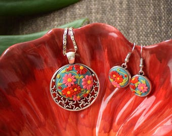 SPRING MEMORIES -PolymerClay Fashion Jewelry, Nature Inspired Jewelry, Floral Pendant set