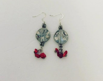 Silver and red coral chip earrings
